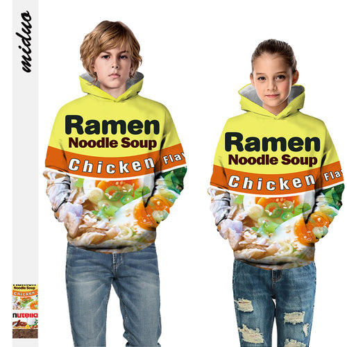 Kids Hoodie Food Ramen Needle Baseball uniform