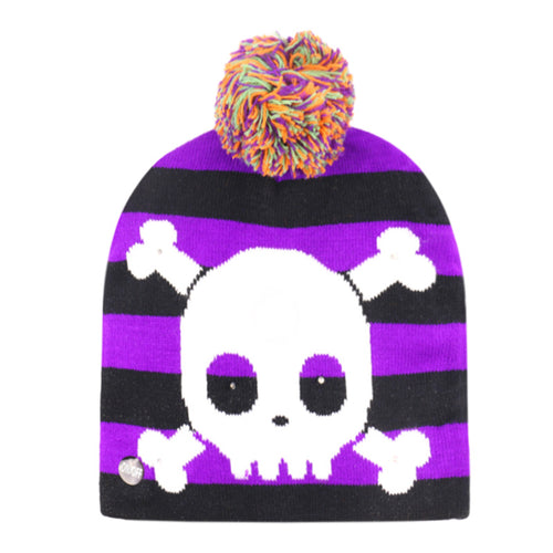 3D LED Halloween Purple Beanie Hats