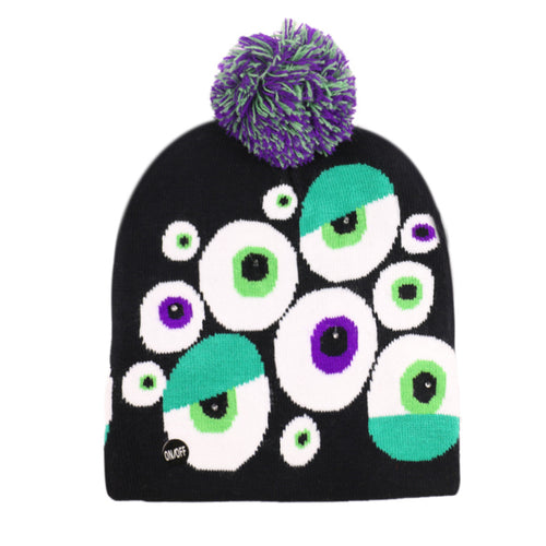 3D LED Halloween Black Beanie Hats