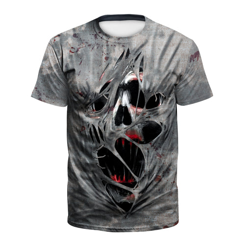 Digital 3D Halloween T Shirt Crew Neck Crazy Skull T Shirt
