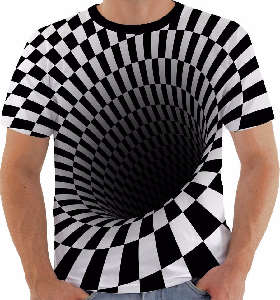 Unisex Hole Print Horrifying 3D Shirt Short Sleeve Tees