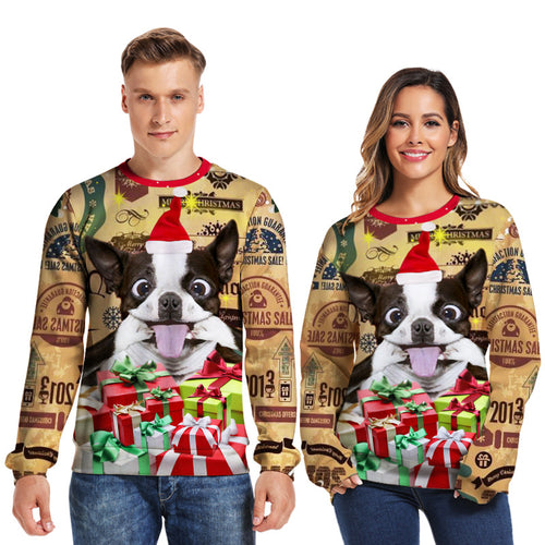 New Style 3D Print Christmas Spoof Dog Crewneck Sweatshirt