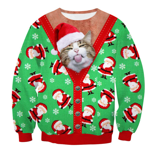 New Style 3D Print Christmas Fake 2pcs Cat Crewneck Sweatshirt