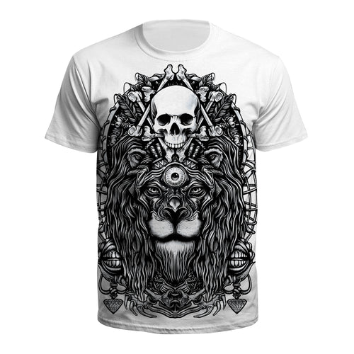 Digital 3D Halloween T Shirt Crew Neck Skull Lion T Shirt