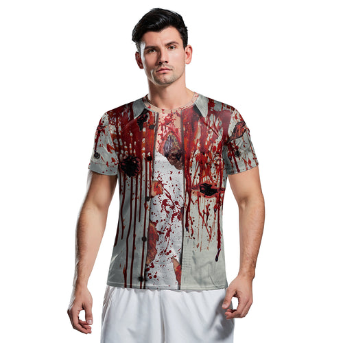 Digital 3D Halloween T Shirt Crew Neck Blood Skull T Shirt