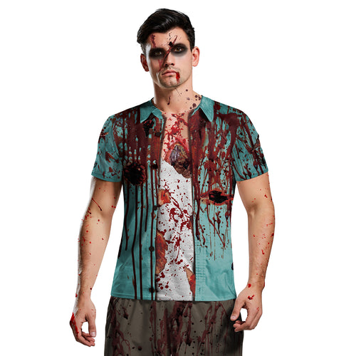 Digital 3D Halloween T Shirt Crew Neck Blood 1 T Shirt