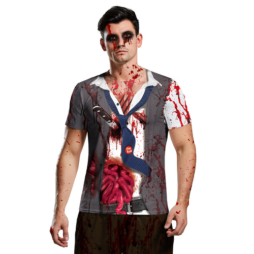 Digital 3D Halloween T Shirt Crew Neck Blood 2 T Shirt