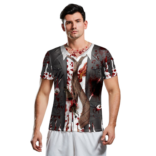 Digital 3D Halloween T Shirt Crew Neck Blood 3 T Shirt