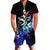 Uideazone Mens Romper Galaxy Cat Riding Shark Print Jumpsuit