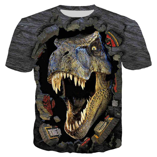 3D Print Jurassic Park Dinosaur Design Animal Men T Shirt