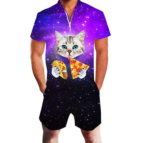 Design Mens Galaxy Space Pizza Cat Print Zip Up Rompers