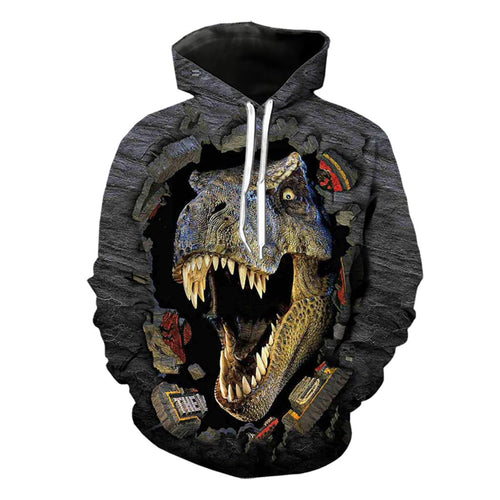 3D Print Jurassic Park Dinosaur Design Animal Men Hoodie