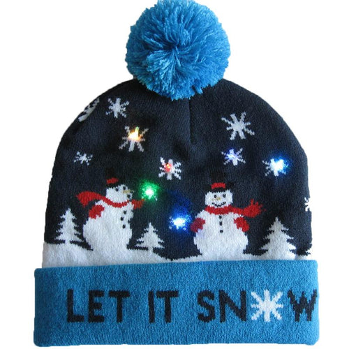 3D LED Christmas Hats Snow Beanie Hats