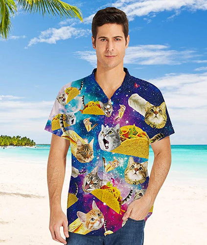 Uideazone Cat Space Galaxy 3D Printed Hawaiian Men Shirt