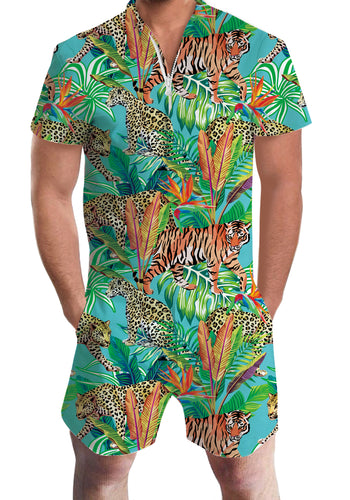 3D Print Hawaiian Tiger Animal Mens Romper