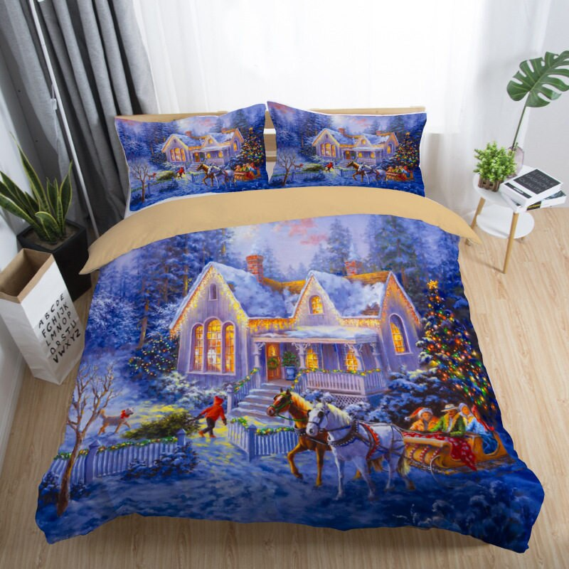 3D Printed Winter Hourse Christmas Bedding Set