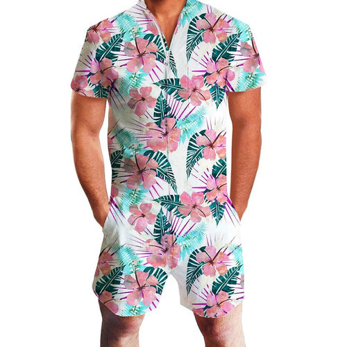 Design Unisex One Piece Zip Short Sleeve Flower Rompers