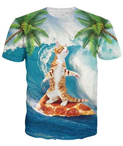 Uideazone Cat Surfing on Pizza T Shirt Funny Graphic