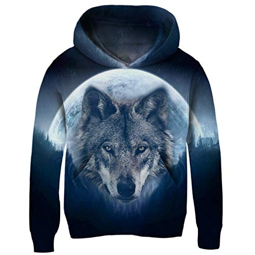 Boys Wolf Moon Hoodie Autumn Winter Casual Pullover Hoodie