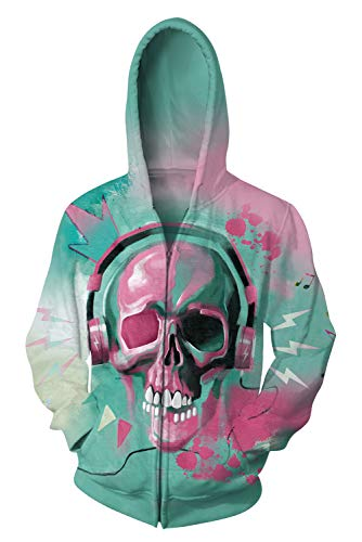 Uideazone Skull Music Printed Zip Up Hoodie