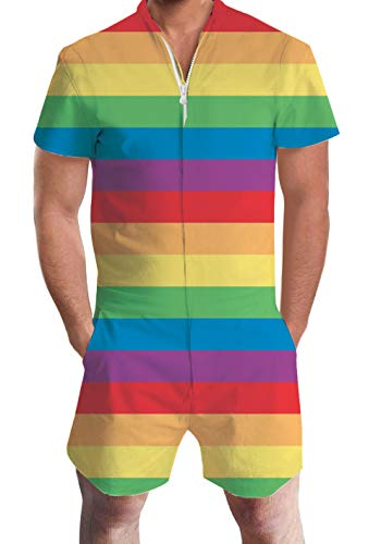 Unisex Design Stripes Pride One Piece Romper Zip