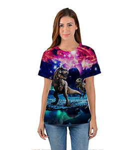 Uideazone Printed Galaxy Dinosaur Short Sleeve T-shirt