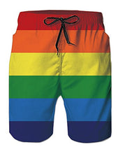 Load image into Gallery viewer, Men Pride Rainbow Printed Basic Swimwear Trunks