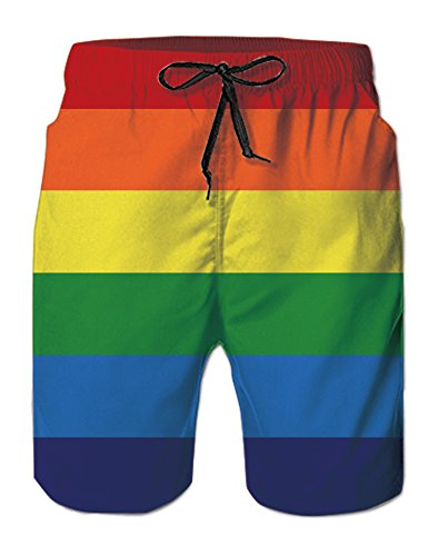 Men Pride Rainbow Printed Basic Swimwear Trunks