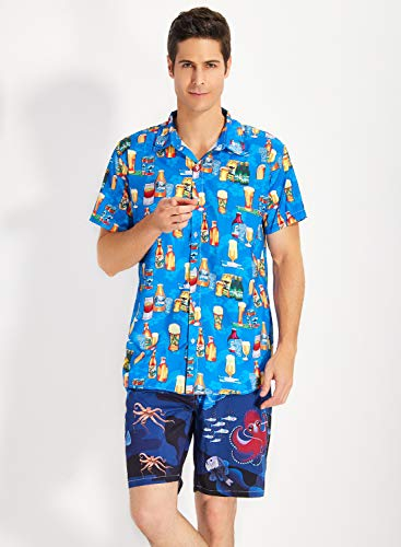 Uideazone Beer Hawaii Shirt for Men Summer Beach Shirts