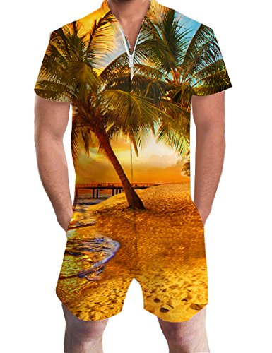 Uideazone Funky Hawaiian Short Sleeve One Piece Romper
