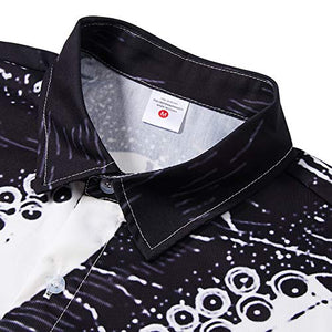 Mens Fancy Casual Long Sleeve Button Down Novelty Shirt