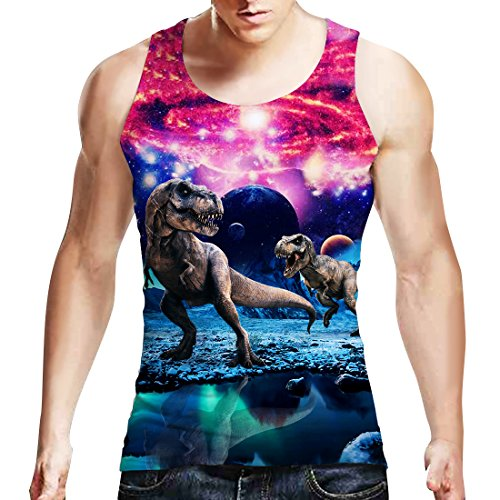 Uideazone Teen Printed Galaxy Dinosaur Tank Top