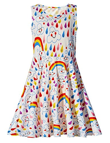 Uideazone Girls Rainbow and Emoji Sleeveless Dress Summer