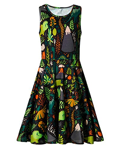 Girls Sleeveless Dinosaur Casual Floral Princess Dress