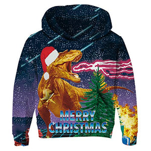 Graphic Merry Christmas Kids Ugly Dinosaur Pullover  Hoodies