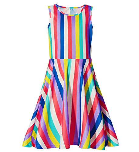 Kids Girls Sleeveless Party Summer Skater Dress Boho