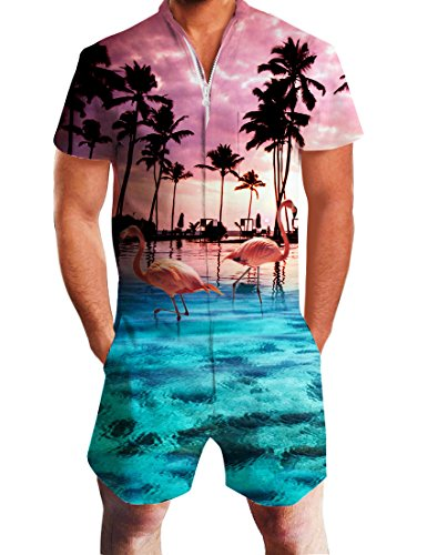 Uideazone Fashion Palm Tree Flamingos Hawaiian Romper