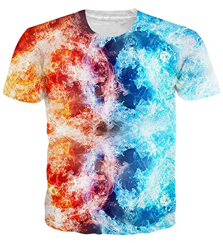 Uideazone Ice and Fire Printed T Shirts