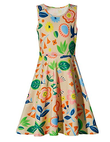 Uideazone Girls Floral Sleeveless Multicolor Summer Dress