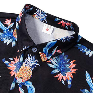 Uideazone Men's Pineapple Floral Print Long Sleeve Button Down Shirt