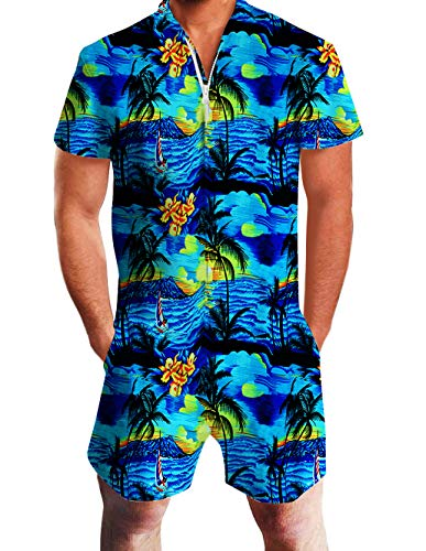 Mens Hawaiian Design Romper Casual Short Cargo Pants Rompers