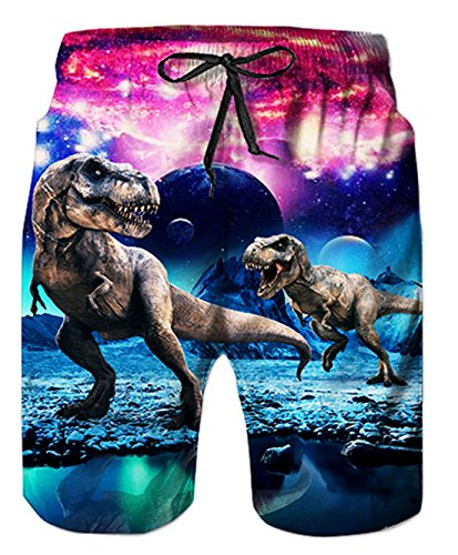 Funny Swimming Dinosaur Quick Dry Board Shorts Trunks