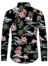 Load image into Gallery viewer, Men Button Front Floral Beach Hawaii Long Sleeve Shirts