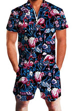 Load image into Gallery viewer, Design Unisex Printed Hawaiian Flamingo Knee Length Romper