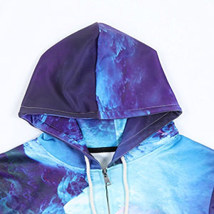 All Over Printed Galaxy Nebula Cluster Zip Up Hoodie