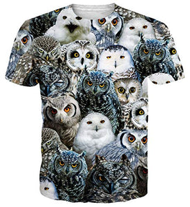 Uideazone Printed Animal Owls Graphic T-Shirt