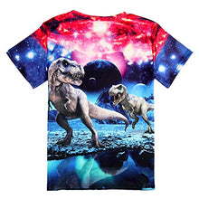 Load image into Gallery viewer, Uideazone Printed Galaxy Dinosaur Short Sleeve T-shirt