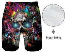 Load image into Gallery viewer, Men Fast Drying Splash Skull Summer Casual Swim Shorts Trunks
