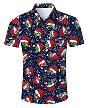 Load image into Gallery viewer, 3D Printed Aloha Christmas Hat Shirt Casual Short Sleeve