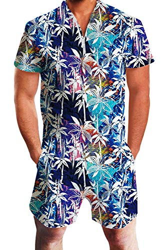 Floral Print Hawaiian Romper Tropical Outfit Overall